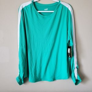 Avia Green Ruched Sleeve Workout Athletic Top NWT